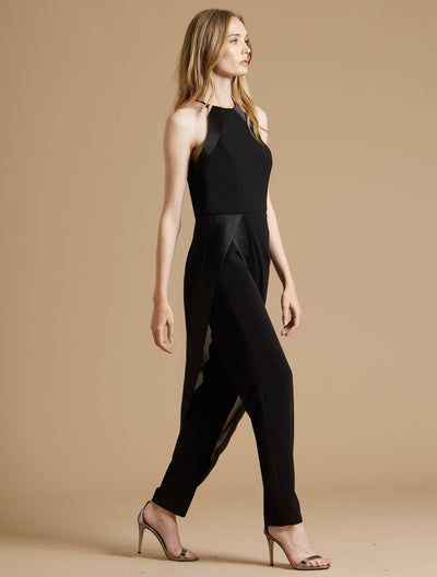 Georgette Overlay High Neck Crepe Jumpsuit - Halston