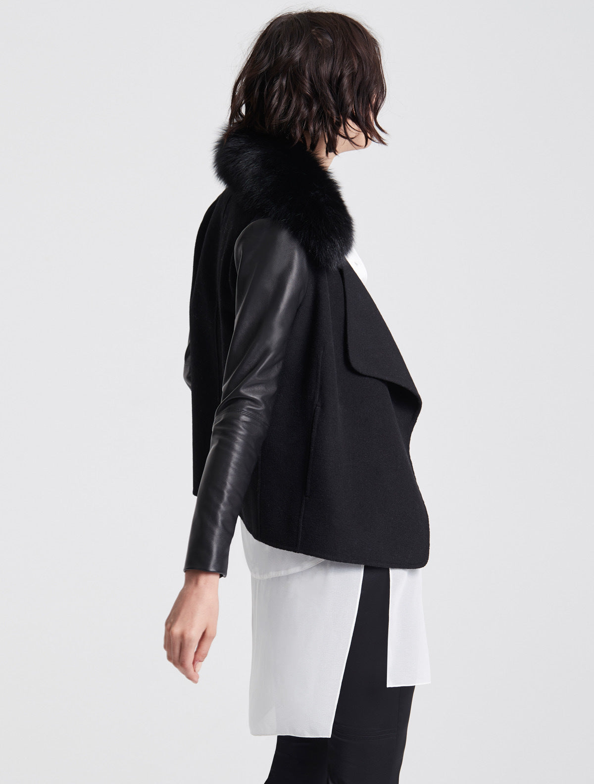 Leather Sleeve Fur Collar Jacket - Halston