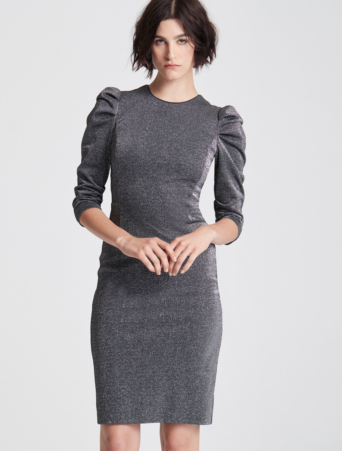 DRAPED SLEEVE SLIM METALLIC KNIT DRESS - Halston