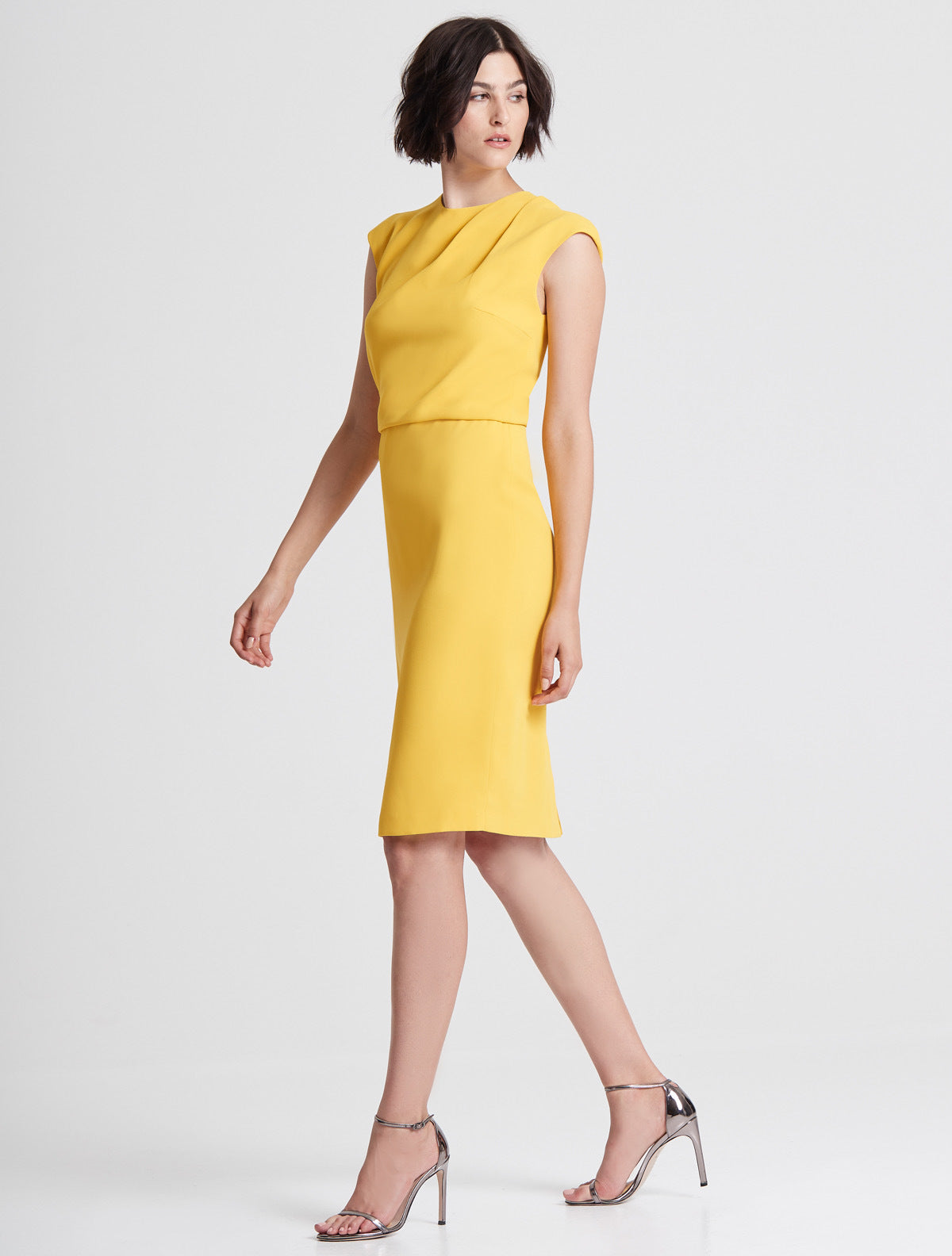 Cap Sleeve Draped Neck Crepe Dress - Halston