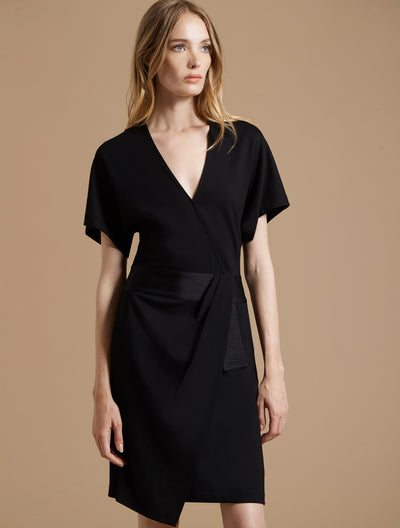 Faux Wrap Multi Stitch Waist Dress - Halston