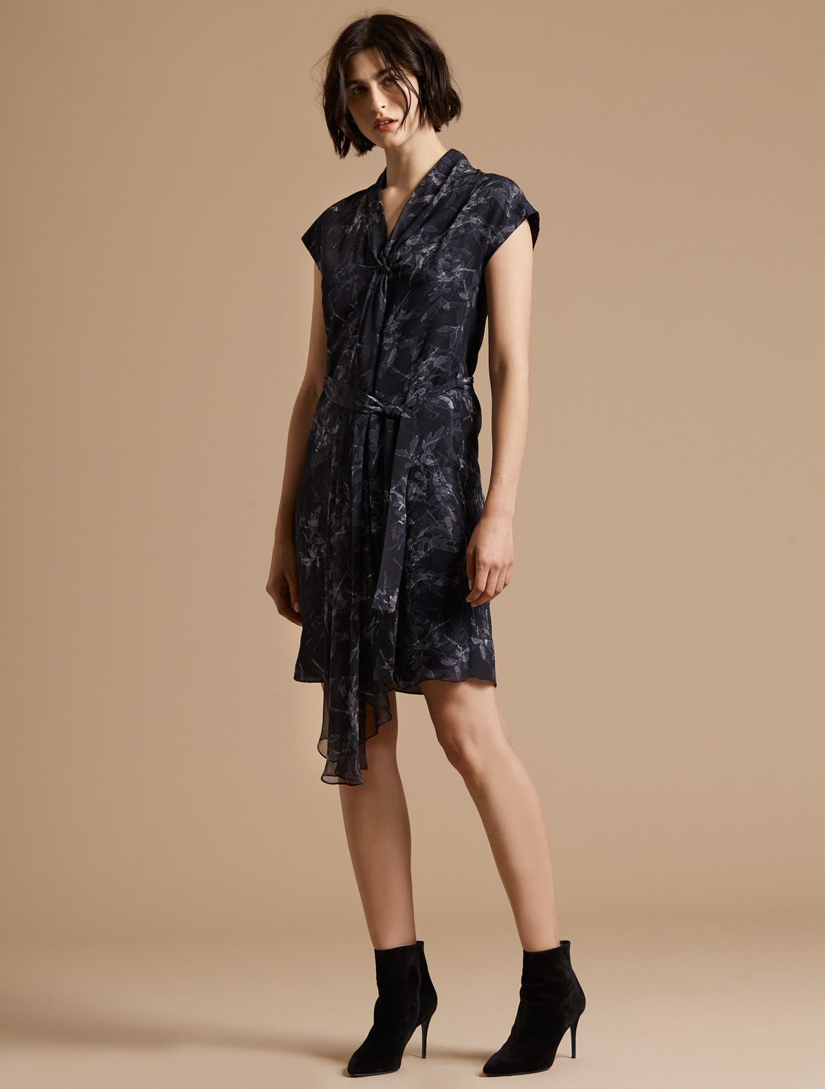 Cap Sleeve Draped Neck Printed Silk Dress - Halston