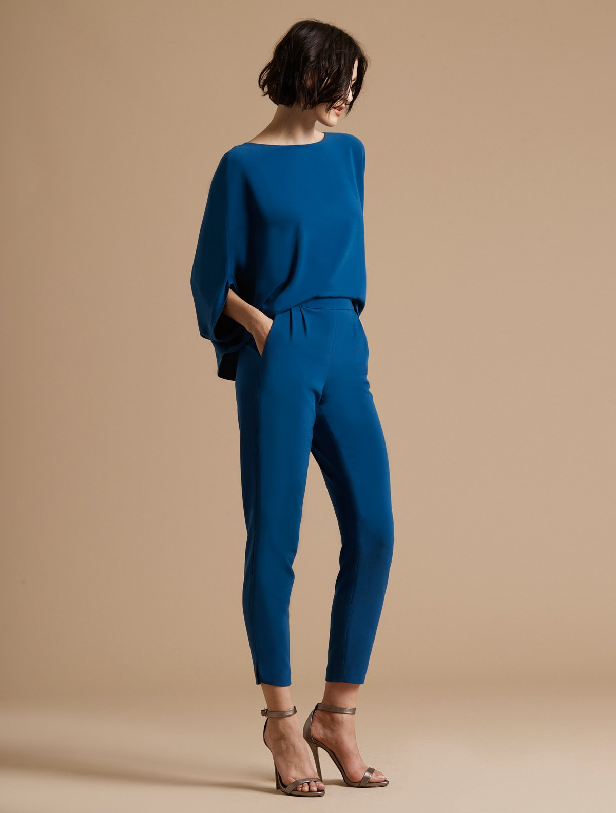 Draped Sleeve Tapered Leg Crepe Jumpsuit - Halston