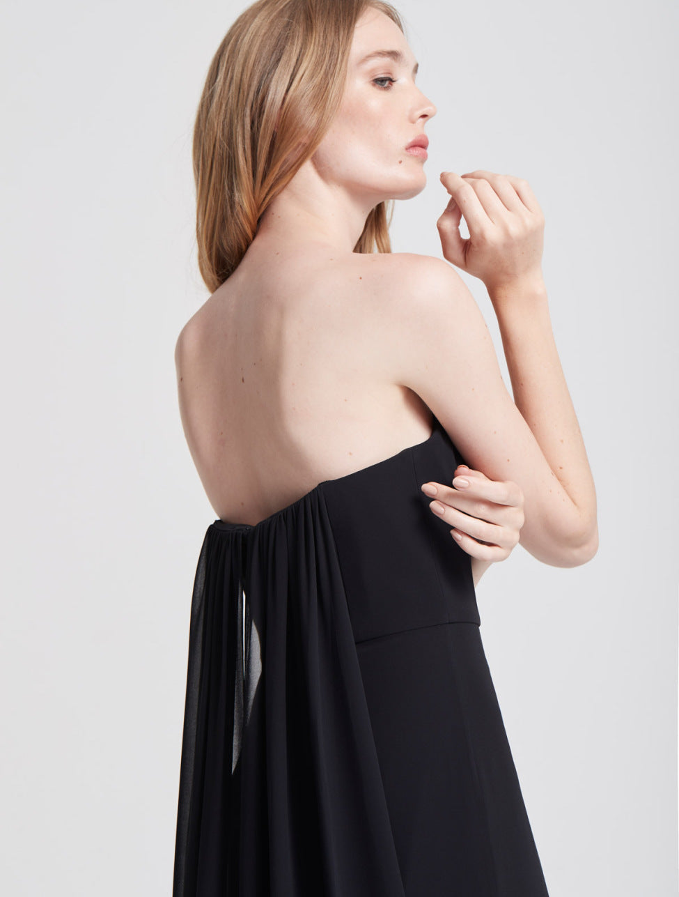 Strapless Draped Back Georgette Gown - Halston
