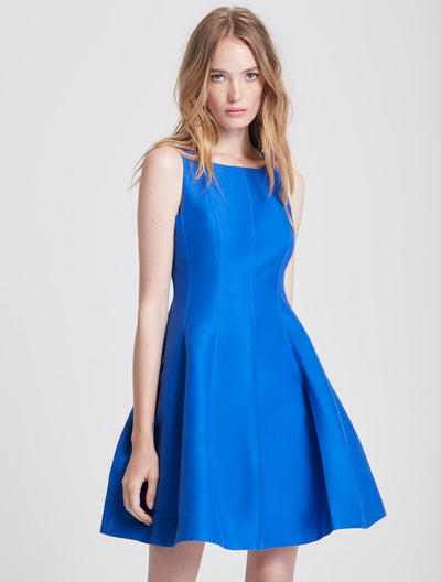 Fit and Flare Silk Faille Dress - Halston