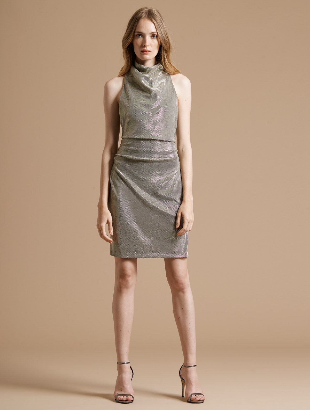 Draped Mock Neck Metallic Knit Dress - Halston