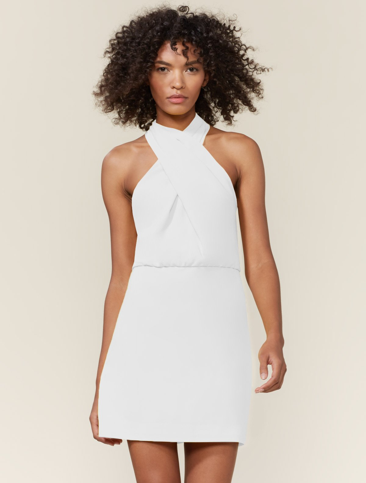 SLEEVELESS CROSS NECK DRESS - Halston