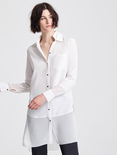 Long Sleeve Georgette Insert Silk Shirt - Halston