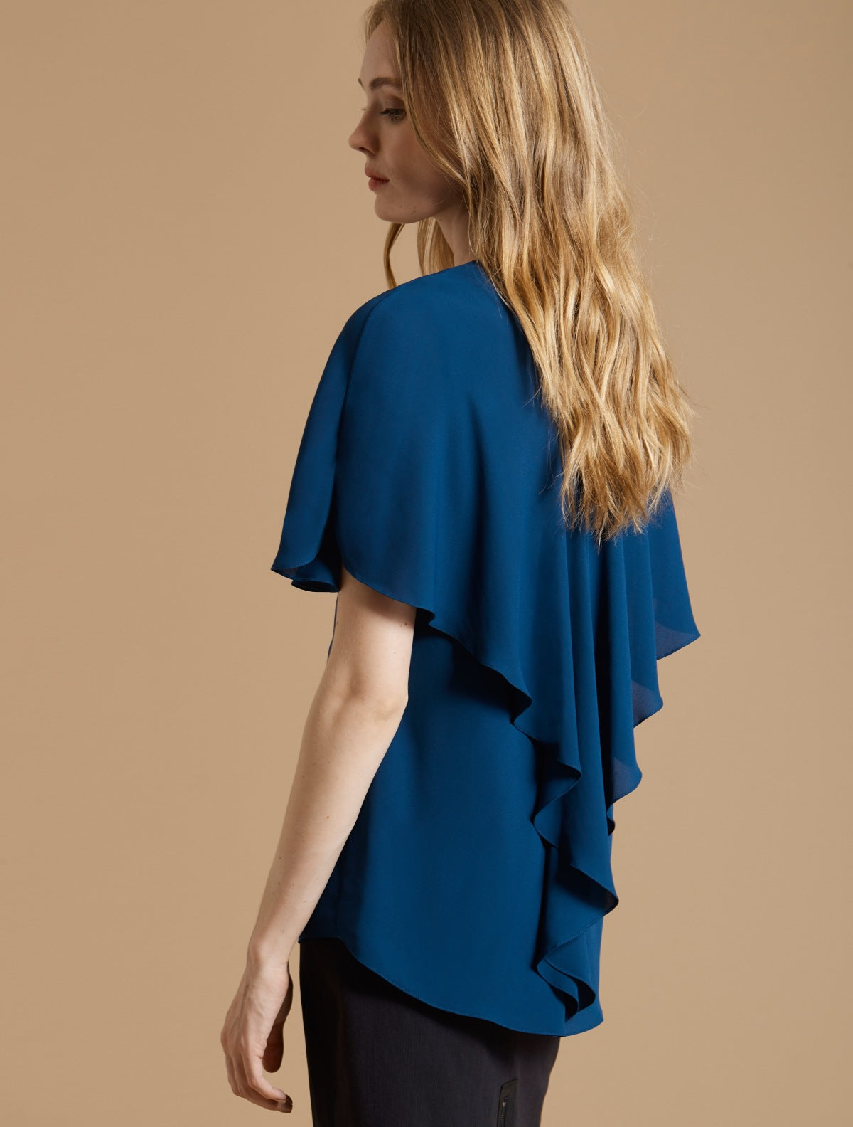 Cape Sleeve Drape Back Top - Halston