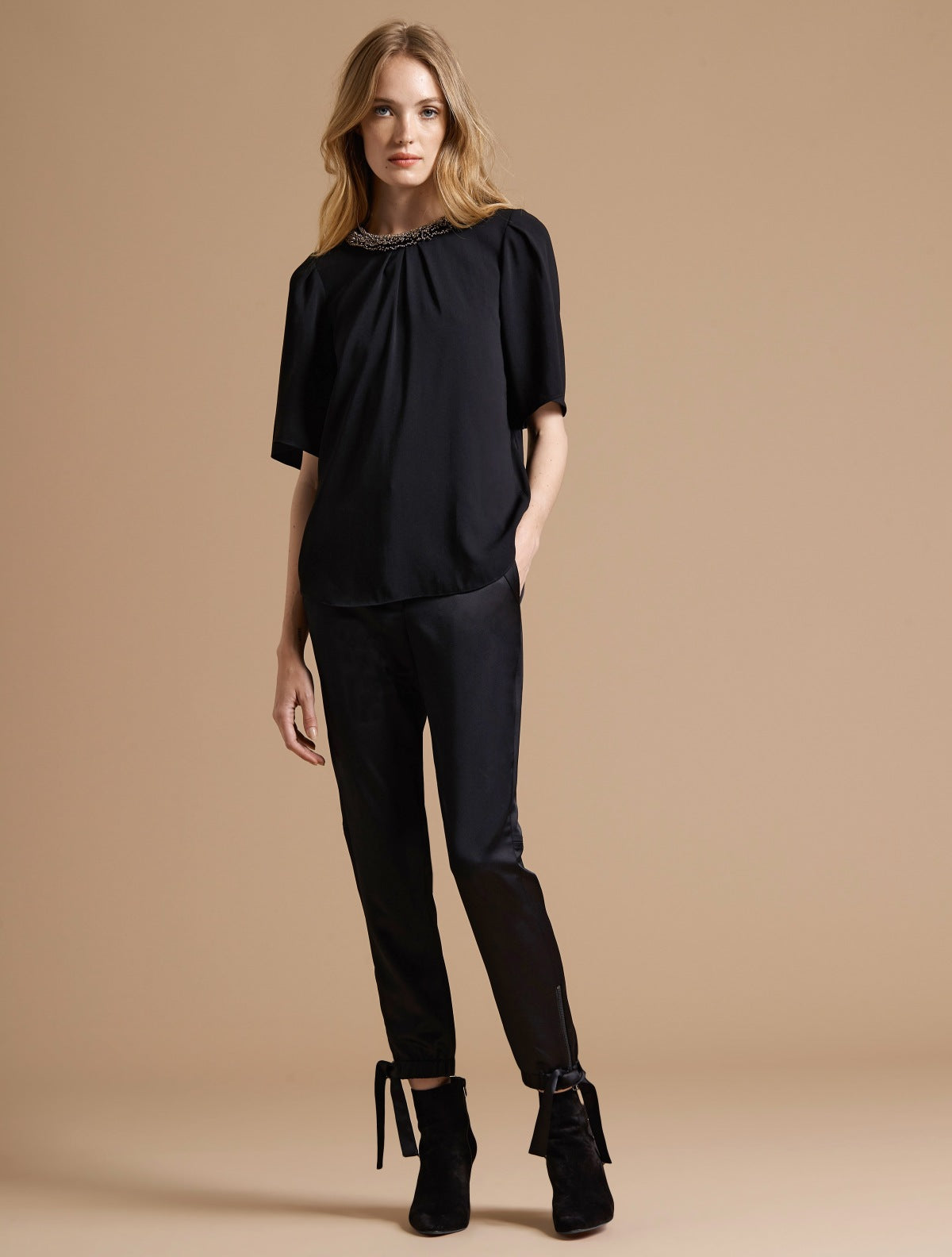 Flowy Short Sleeve Embellished Silk Top - Halston