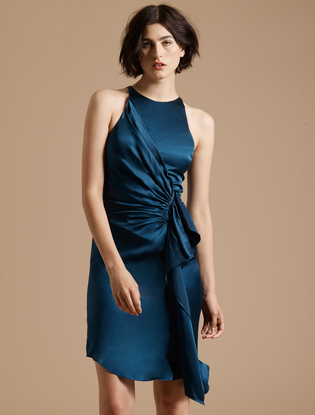 Sleeveless Draped Front Satin Dress - Halston