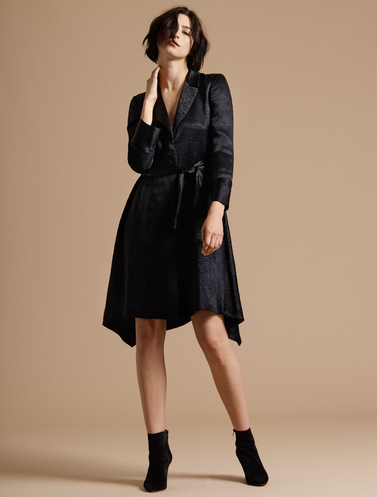 Long Sleeve Crushed Satin Trench Coat Dress - Halston