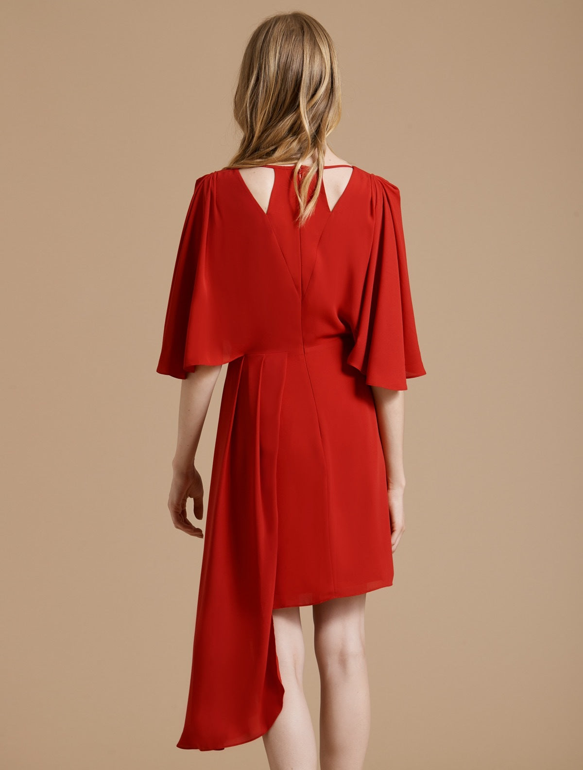 Flowy Short Sleeve Faux Wrap Dress - Halston