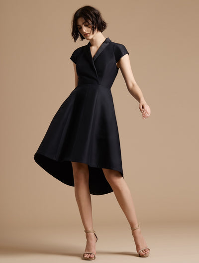 Tuxedo Silk Faille Dress - Halston