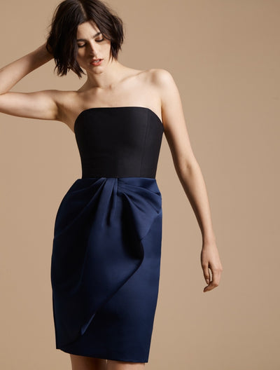 Bow Drape Bonded Satin Dress - Halston