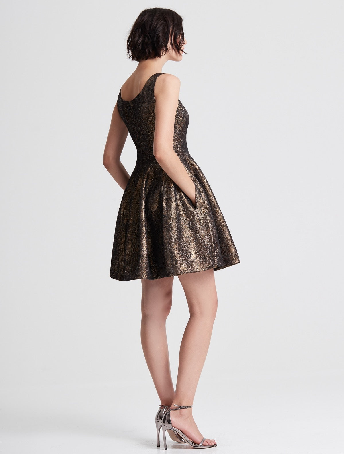 Fit and Flare Metallic Jacquard Dress - Halston