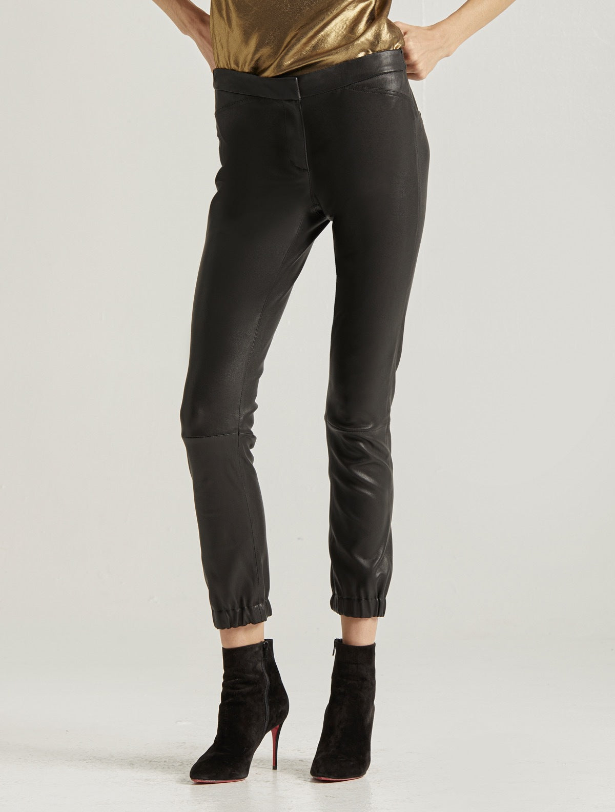 STRETCH LEATHER LEGGING - Halston