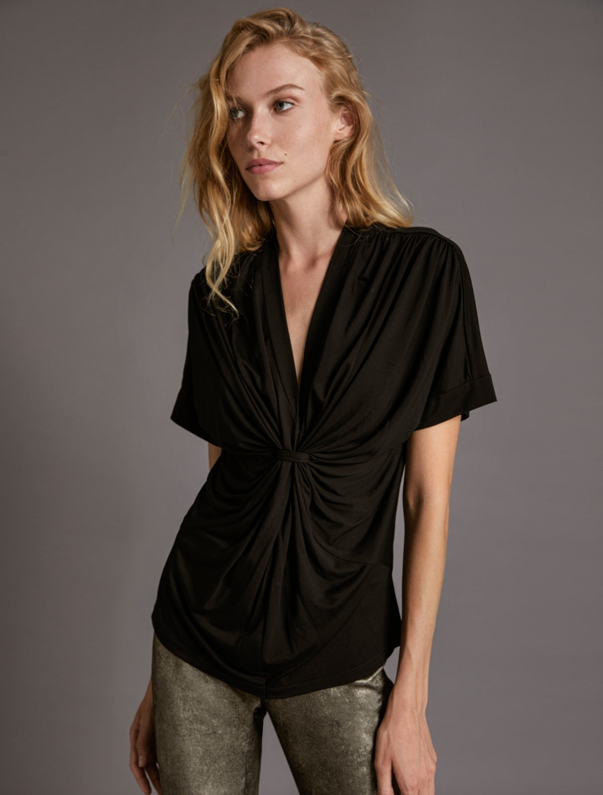 DRAPED KNIT TOP - Halston