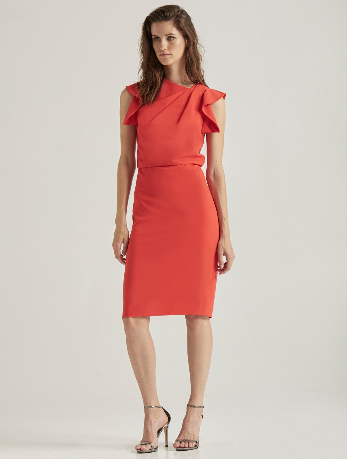 Asymmetric Neck Dress - Halston
