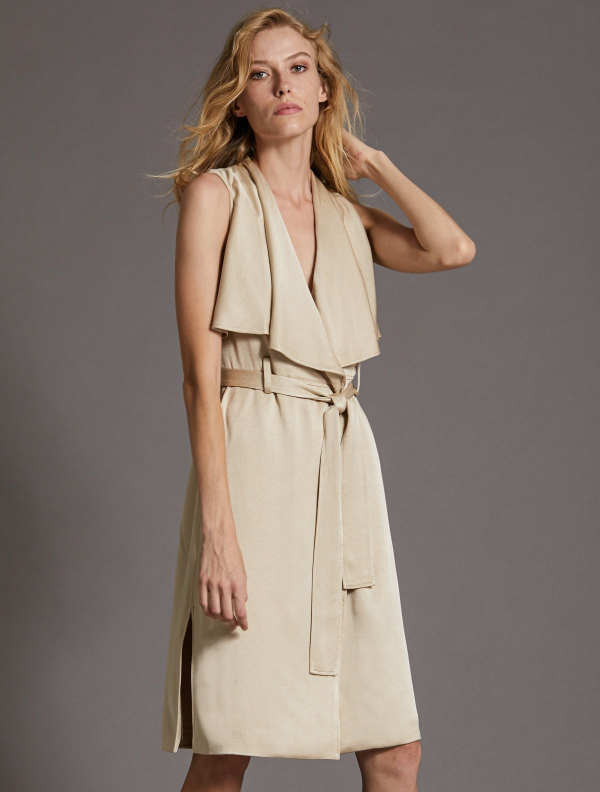 SATIN TRENCH DRESS - Halston