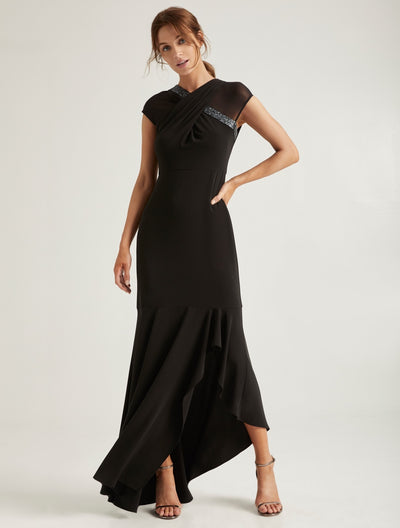 Embellished Neck Gown - Halston