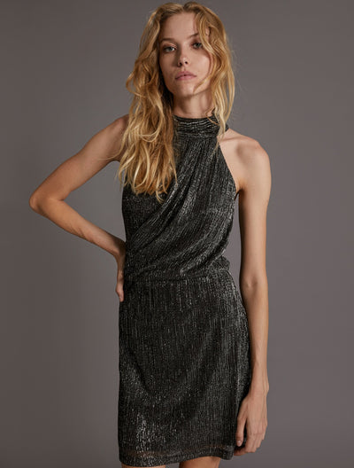 METALLIC KNIT DRESS - Halston