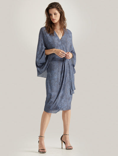 PRINTED DRAPED SLEEVE DRESS - Halston