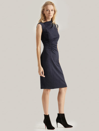 DRAPED NECK DRESS - Halston