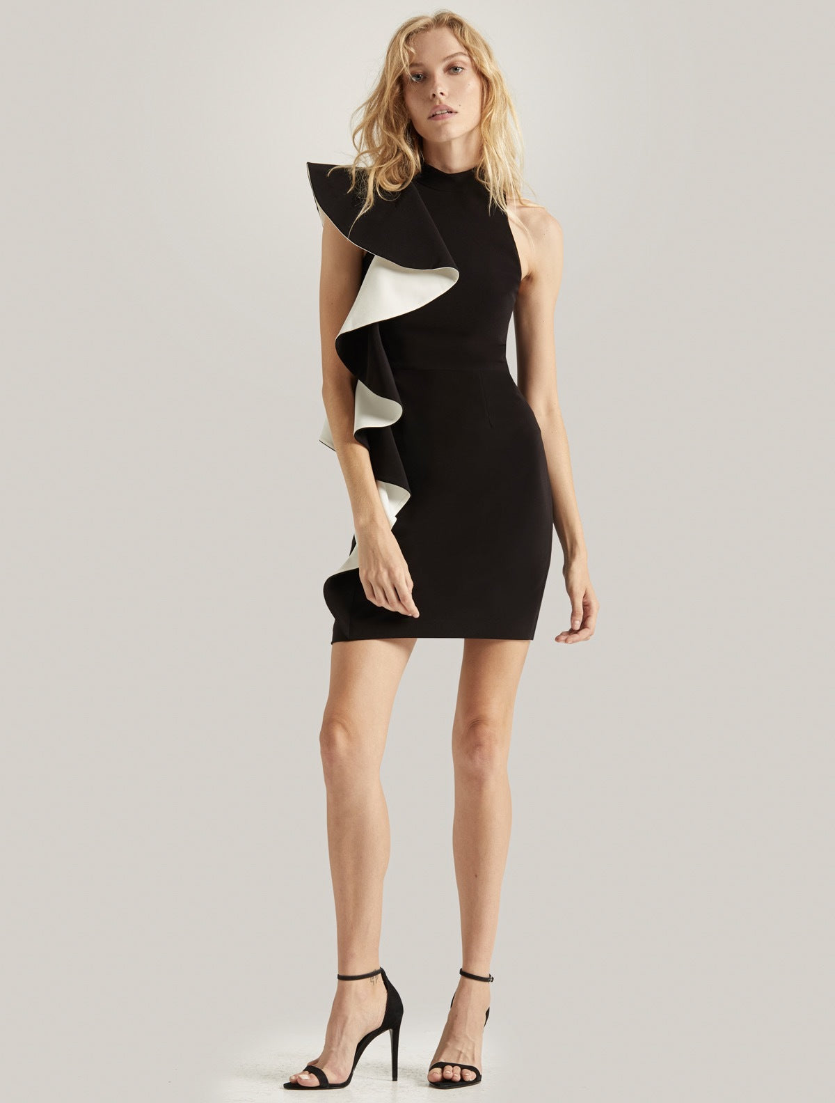 FLOUNCE CREPE DRESS - Halston