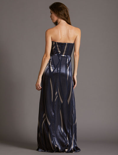 STRAPLESS BURNOUT GOWN - Halston