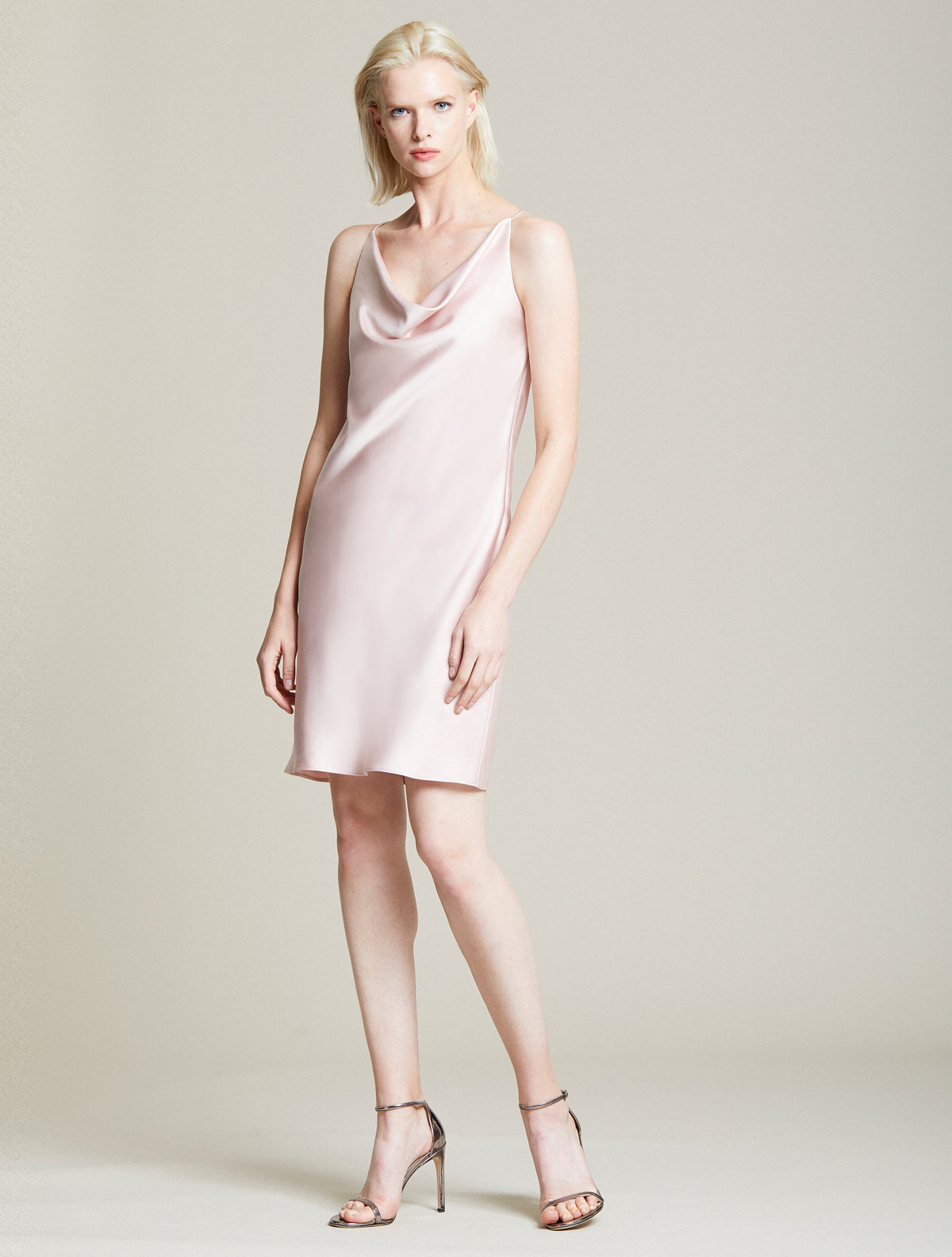 Cowl Satin Slip Dress - Halston