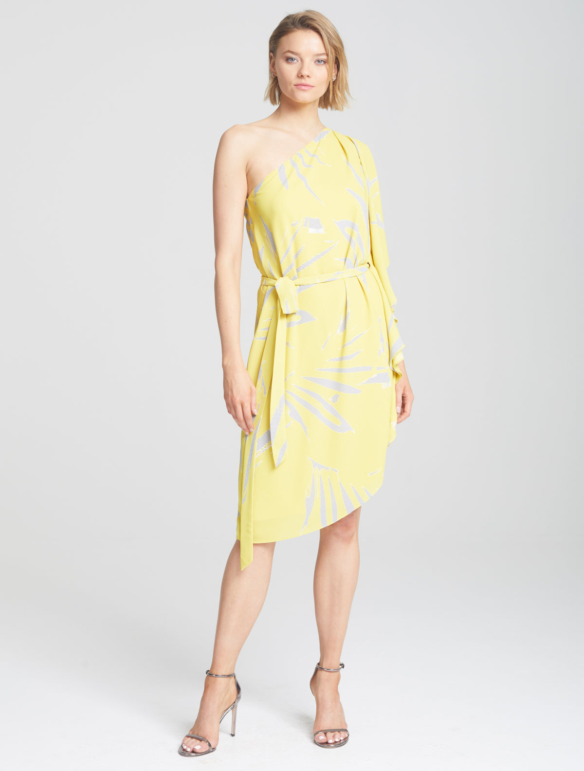 Asymmetric Print Dress - Halston