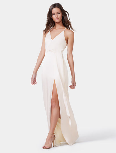 Satin Wrap Gown - Halston