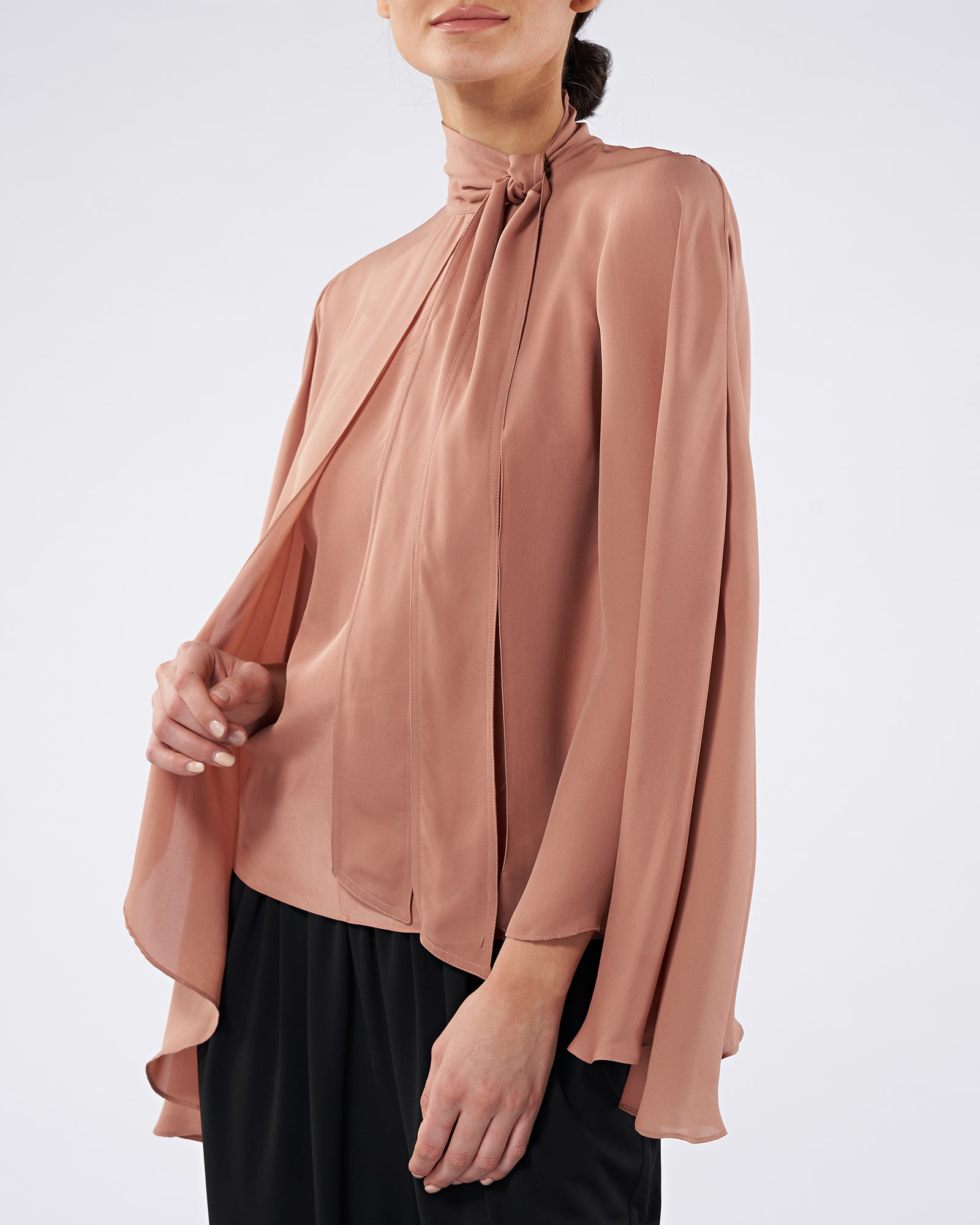 Julia Tie Neck Cape Top