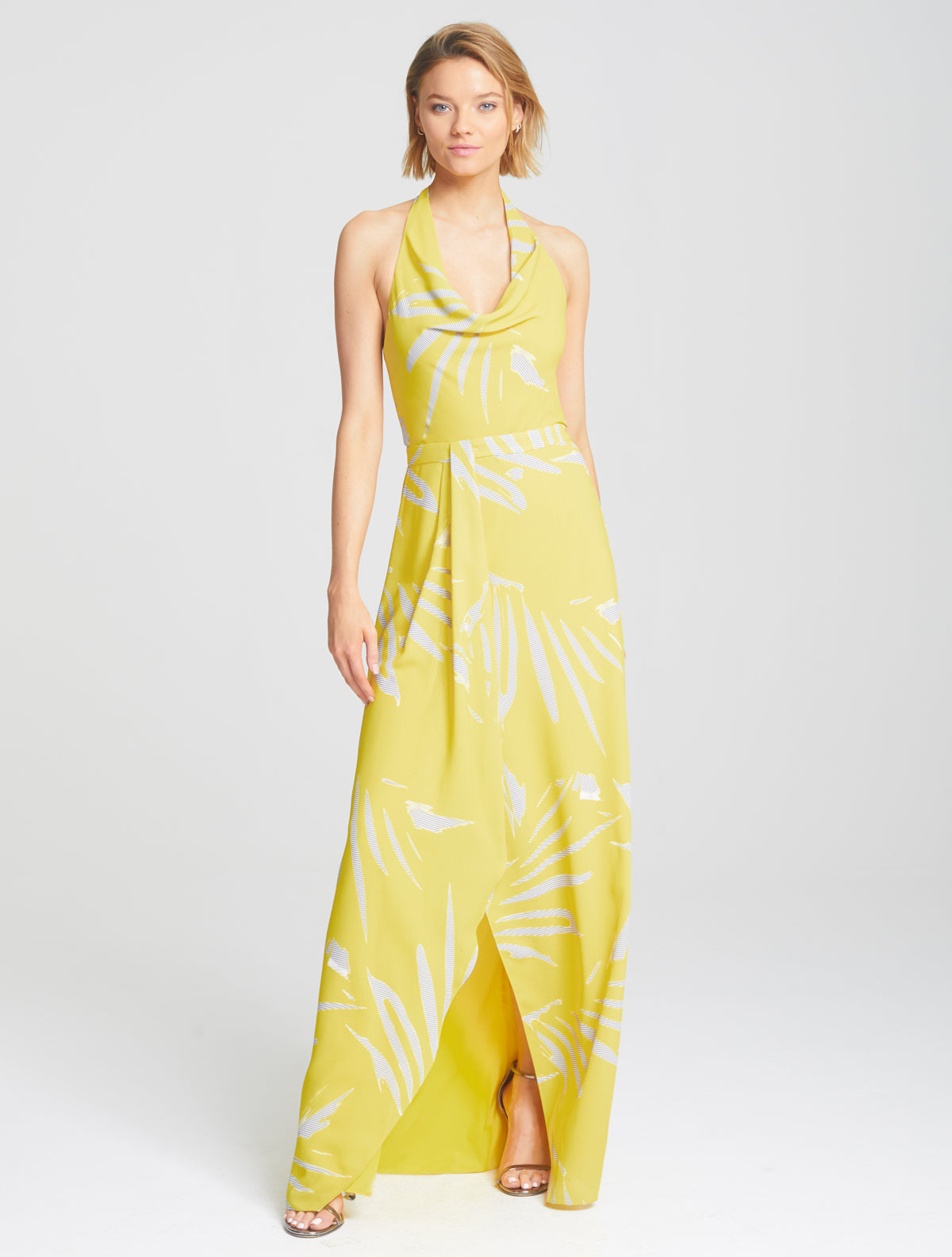 Printed Cowl Gown - Halston