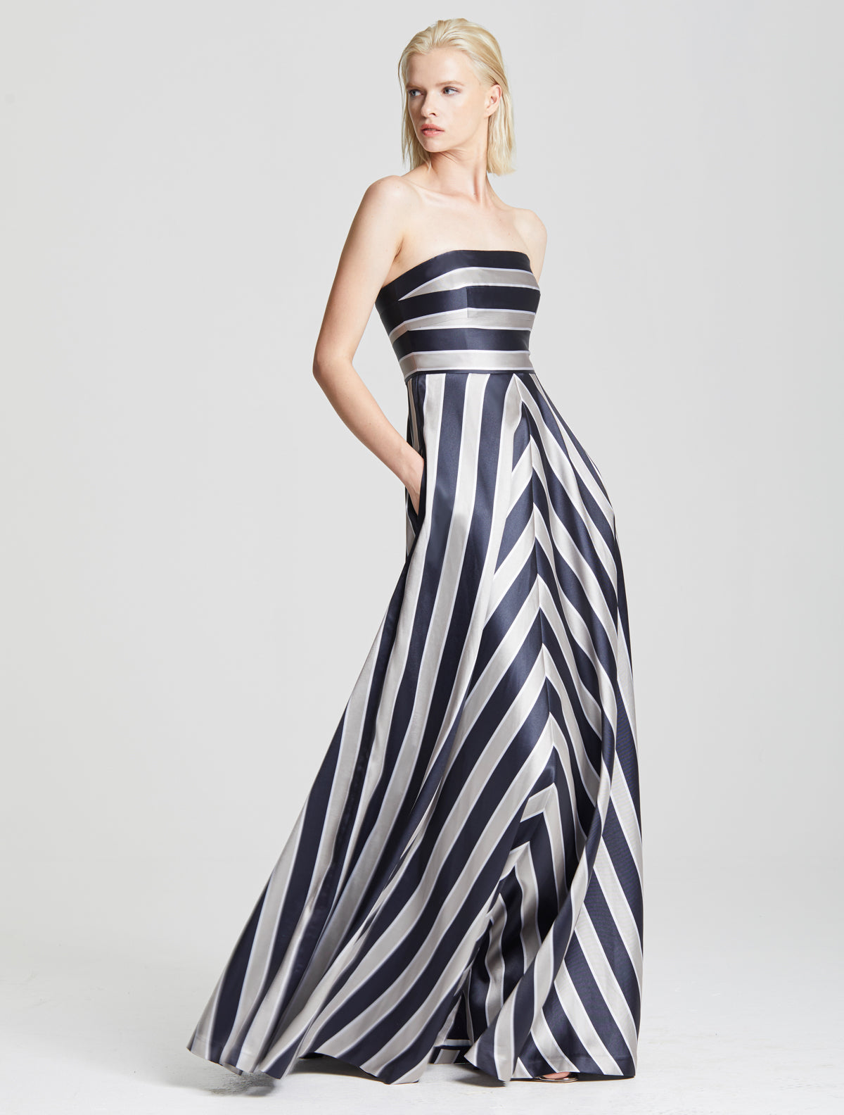 Stripe Structure Gown - Halston