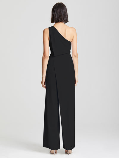 Asymmetric Draped Jumpsuit - Halston