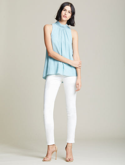 Crinkle Mock Neck Top - Halston