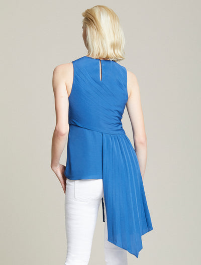 Asymmetric Pleated Top - Halston