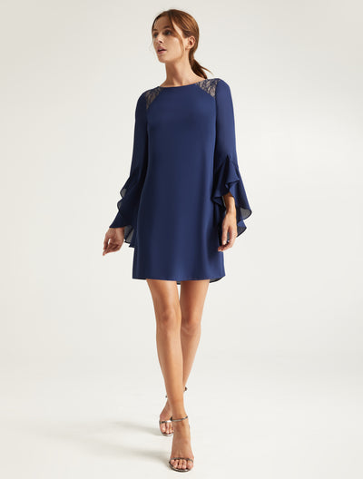 Lace Insert Dress - Halston