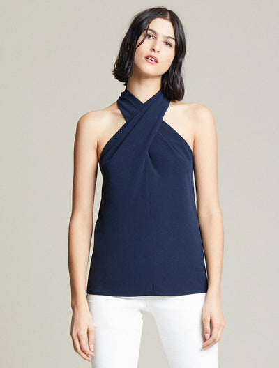 Crepe Cross Neck Top - Halston