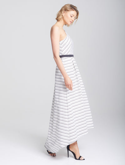 Asymmetric Stripe Gown - Halston