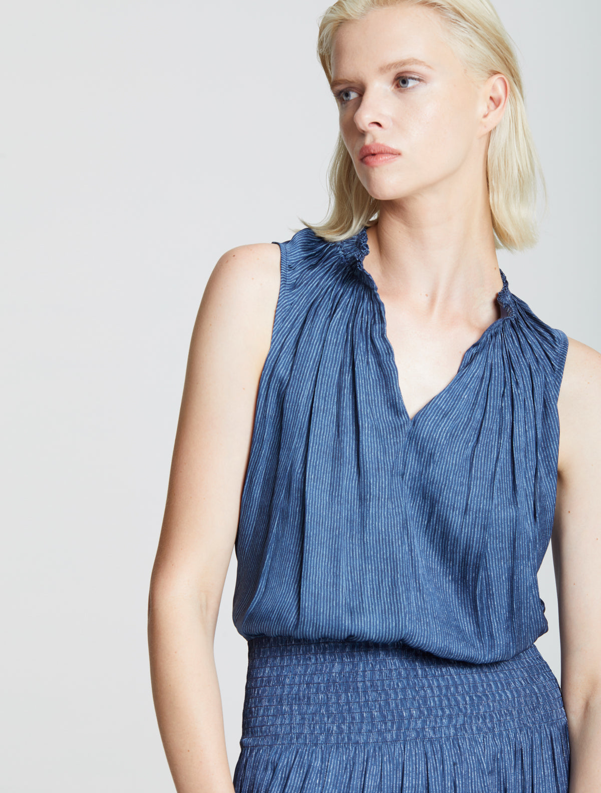 Smocked Waist Dress - Halston