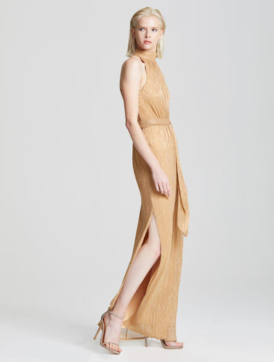 Ruched Metallic Gown - Halston