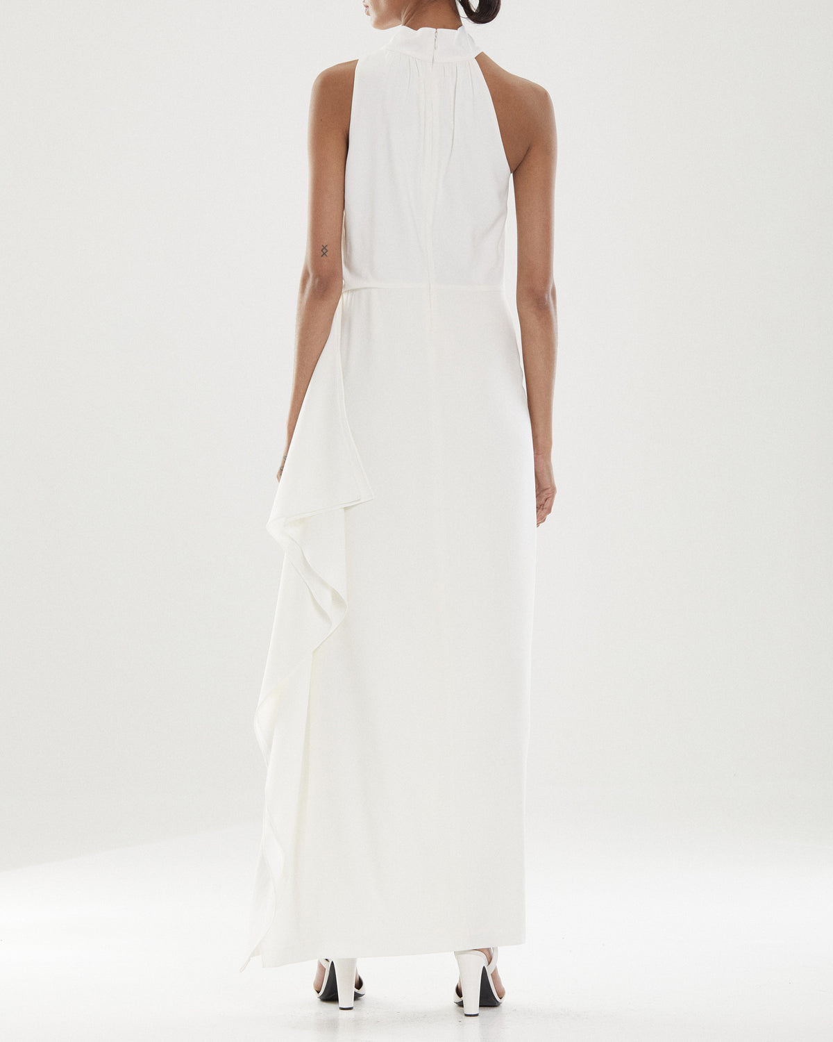 Io Asymmetric Mock Neck Gown