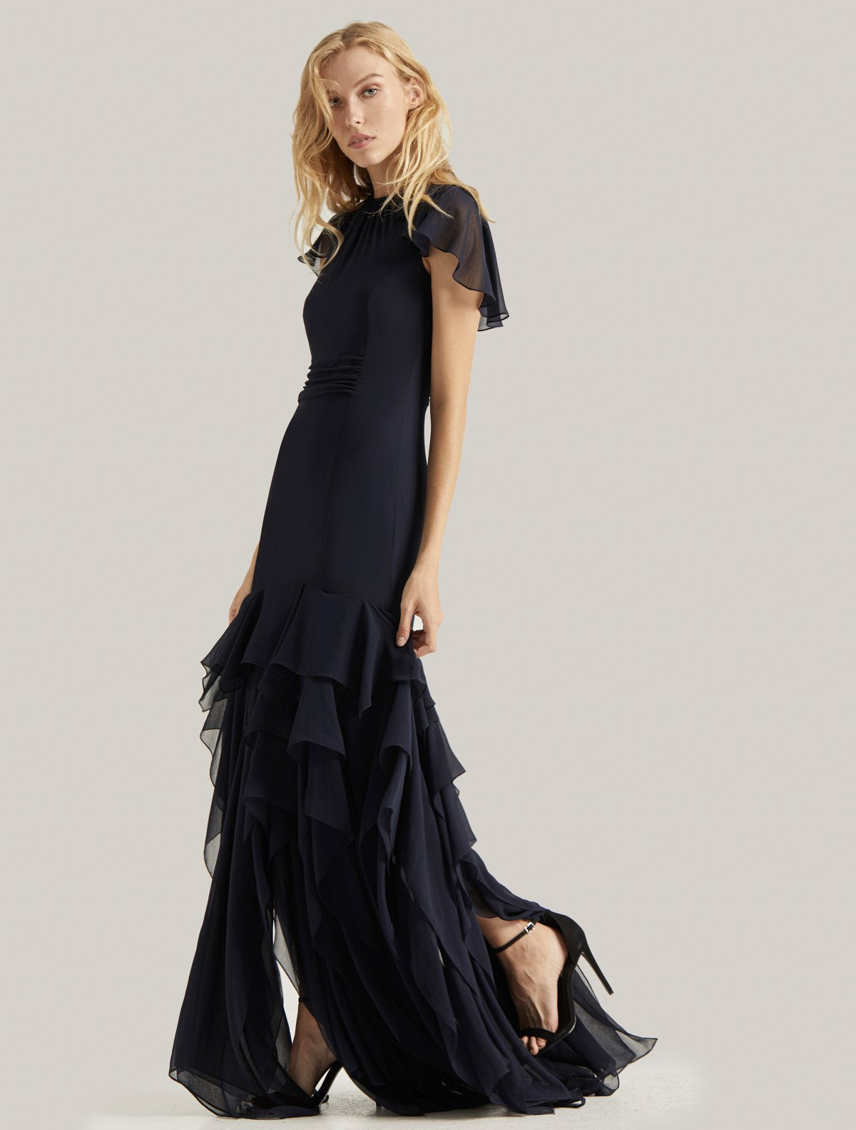 FLOUNCE GEORGETTE GOWN - Halston