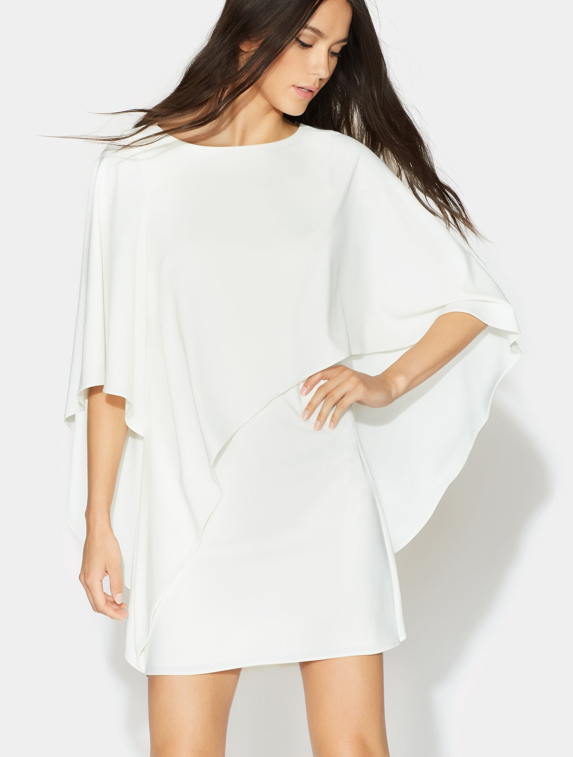 Flowy Asymmetric Drape Crepe Dress - Halston