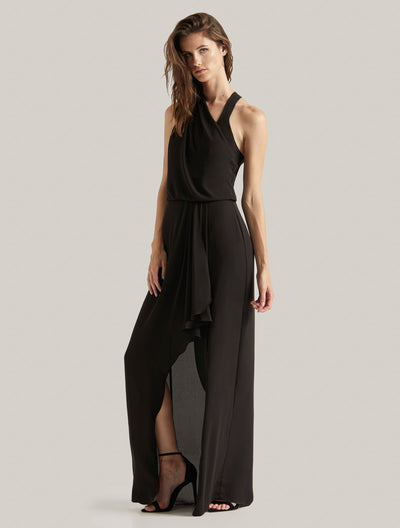 Asymmetric Draped Gown - Halston