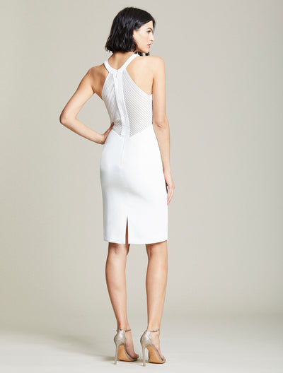 Embroidered Back Dress - Halston