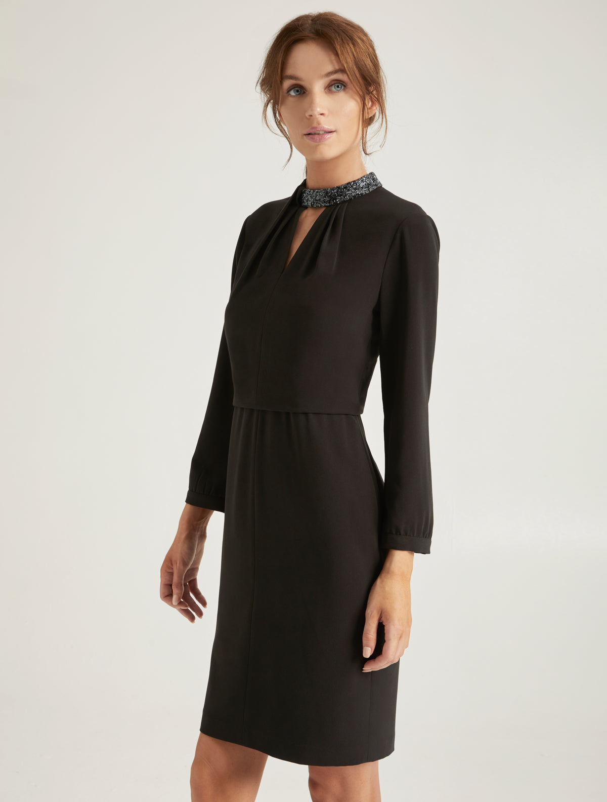 Embellished Neck Dress - Halston
